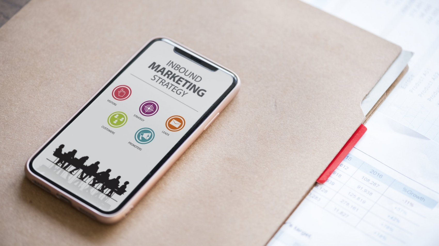 The knowledge process outsourcing industry denoted by a smartphone showing an image of Inbound Marketing