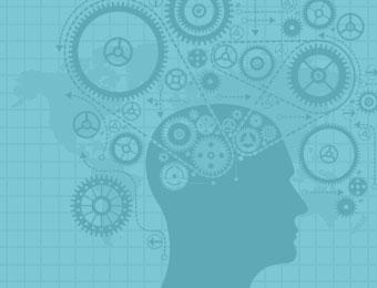 mechanical gears on top of human head silhouette