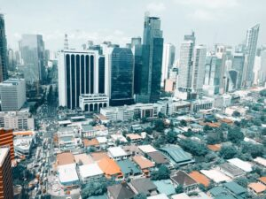 Makati skyline in the Philippines as a great outsourcing location