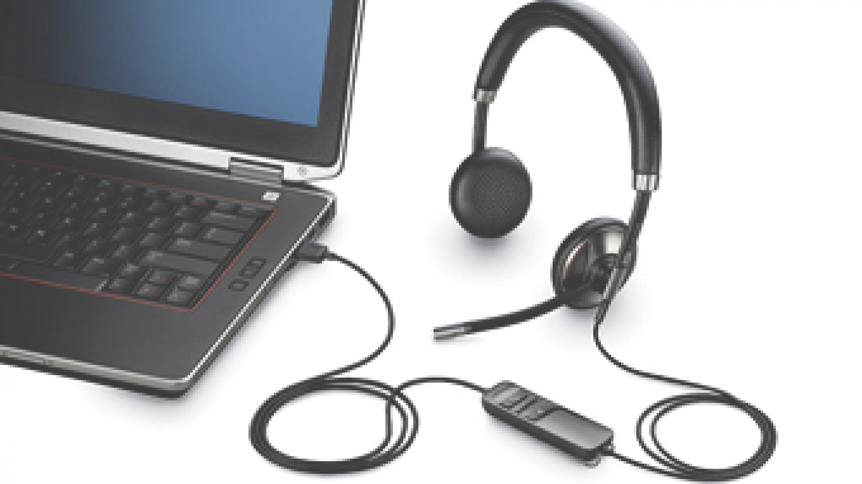 A Headset Connected to a Laptop