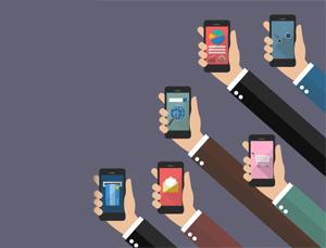 minimalistic animation of 6 hands holding smartphones in violet background