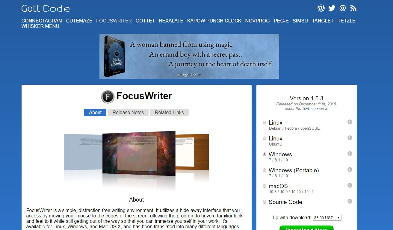 free writing tools for content development: focuswriter