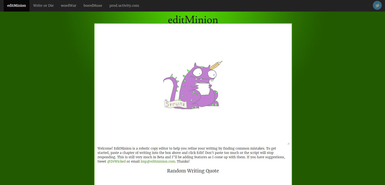 editMinion homepage