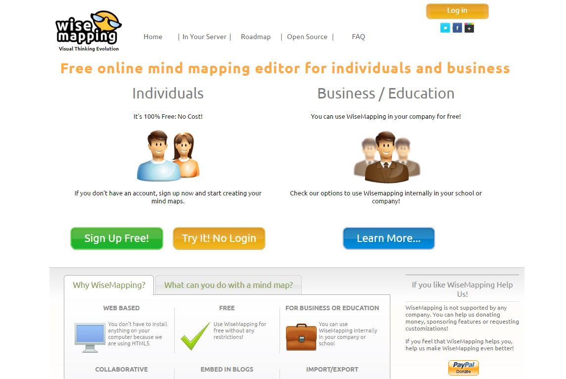 WiseMapping homepage