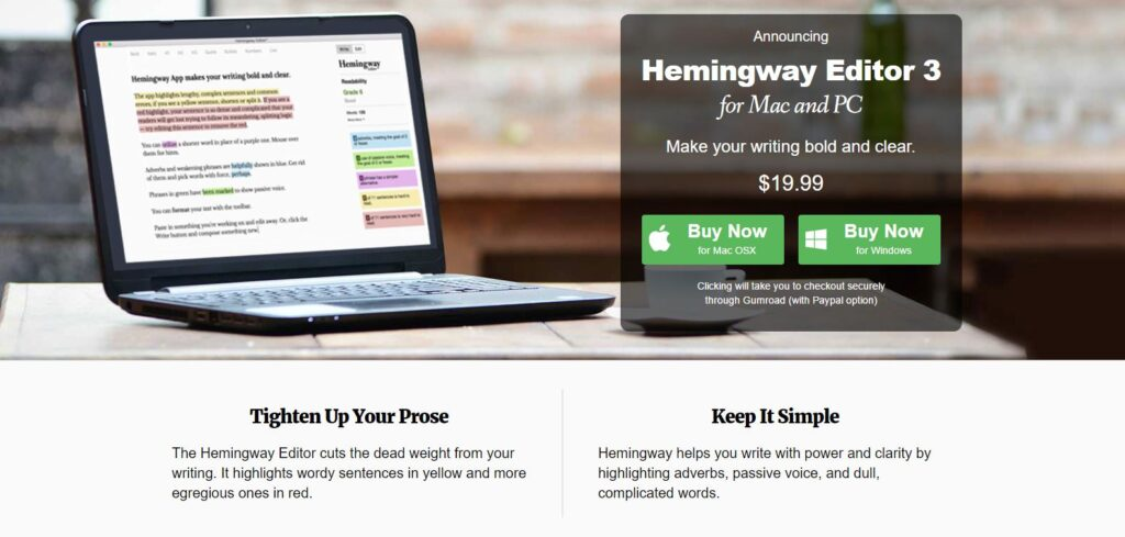 hemingway app desktop for MAC and Windows OS