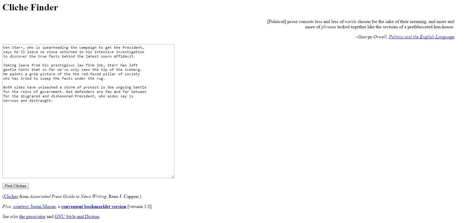 clichefinder homepage