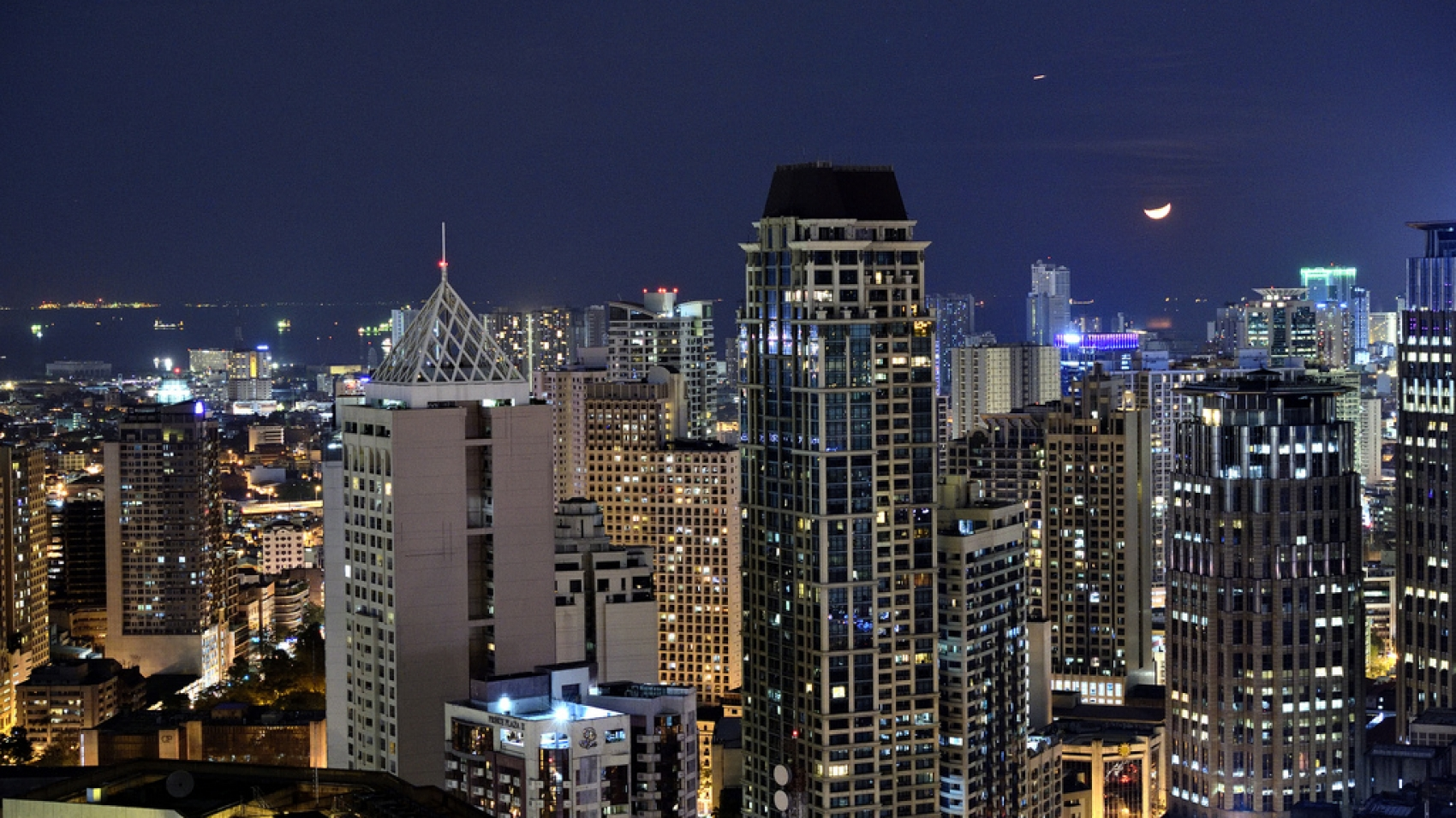 Aerial view of Makati City at night, one of Philippines BPO hubs