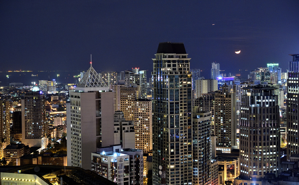 Aerial View of Makati City at Night