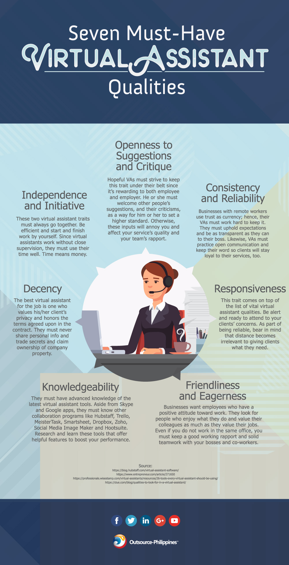 Seven Must-Have Virtual Assistant Qualities Infographic