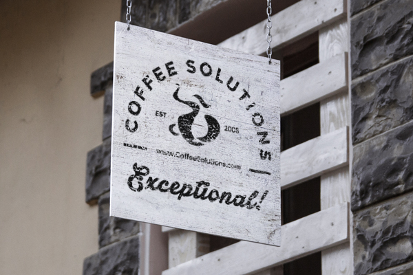 Logo of a cup of coffee for coffee solutions