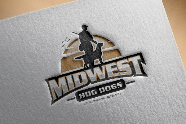 A silhoutte of a man and dog walking as midwest logo