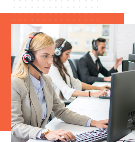 Three live chat support agents engaged in clients