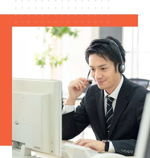 Asian promos and campaigns live answering representative talking to a client on the phone