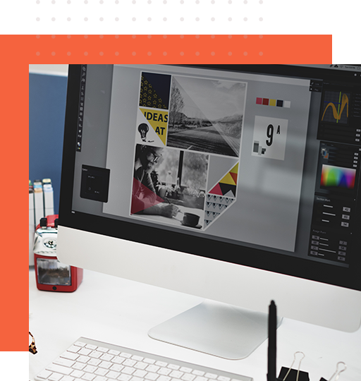 Top brochure designer services as shown on the monitor
