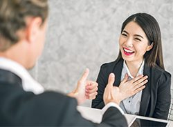 A male and female virtual assistant talking